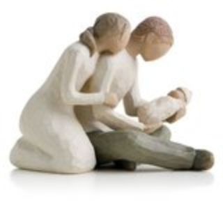 Willow Tree Figurine Mother, Father and Baby, (sitting)