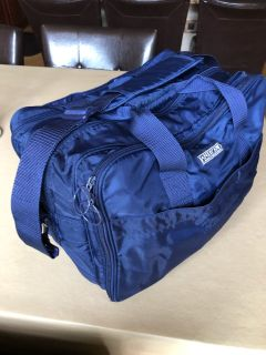Lane s End overnight/work bag, 10 x 18 . Zippered compartments, hand & shoulder straps
