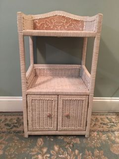 Solid wood and wicker cabinet/shelf Must PPU BY TOMORROW NOON