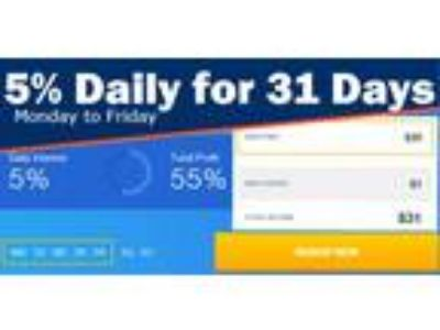 Earn 5% Daily - for 31 Days! No selling, No Monthly Fees