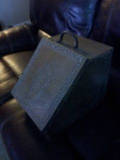 Antique Coal Box embossed brass Scuttle