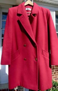 """Vintage Ladies""""FORECASTER"""" RED Pure Wool Trench Coat Sz: 16 (Designer)"""