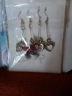 Sliver heart hook earrings