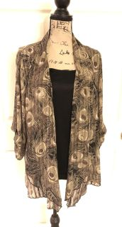 Rebecca Malone 3/4 Sleeve Open Front Brown/Black Cardigan Attached Tank Sz 2X 100% Polyester