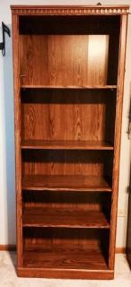 5 shelf open bookcase - oak