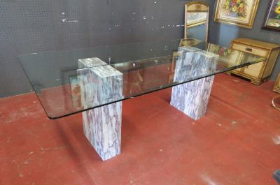 Vintage Mid century glass and marble dining table