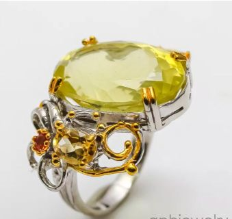 Graded AAA African Lemon Quartz set in Sterling silver and 14 carat gold