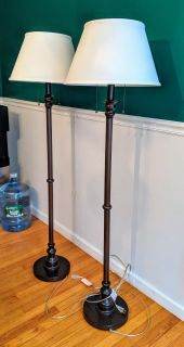 Pair 60 in. bronze floor lamps with shades