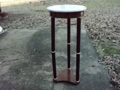 white marble top corner or end table OR PLANT STAND
