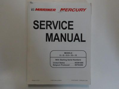 Find 1998 Mercury Mariner 6/8/9.9/10/15 Service Manual 90-827242R02 OEM Boat 98 TEAR motorcycle in Sterling Heights, Michigan, US, for US $32.95