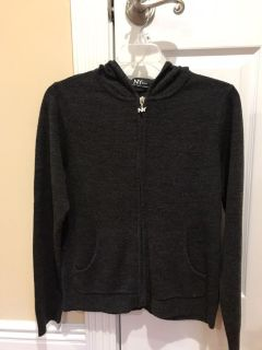 New York & company zip-up sweater material hooded jacket. Dark gray color