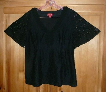 ELLE Womans Black Lace Blouse Size Large with Butterfly Sleeves