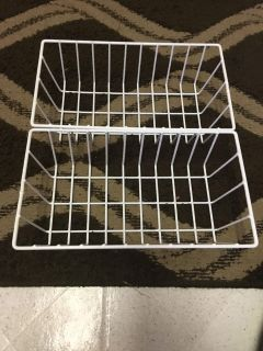 Set of 2 white rubber coated metal 11x61/2x3 baskets
