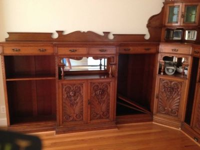 Antique English Tiger Oak Corner Wall Cabinet's 1800's