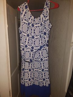 NEW very pretty cobalt blue and white Tiana B dress size 18 tall