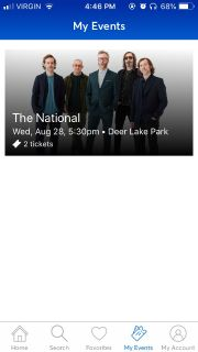 2 tickets to the National - Deer Lake Park, Burnaby