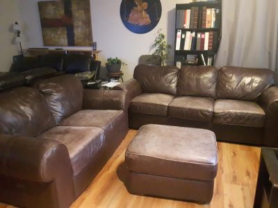 Leather Couch and Loveseat with ottoman