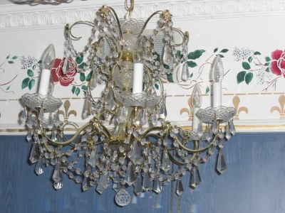 Schonbek Chic 24k Gold Brass Lead Crystal Chandelier