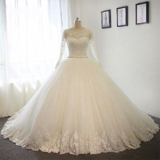 Hannah's Long Sleeve A Line Lace Wedding Dress
