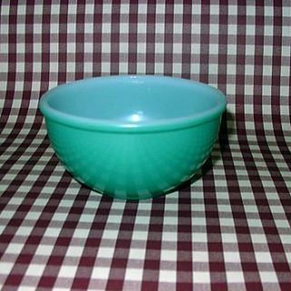 HTF VTG FIRE KING OVENWARE GREEN FIRED-ON MIXING BOWL