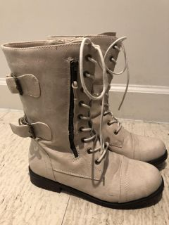 Ivory combat boots - size 7