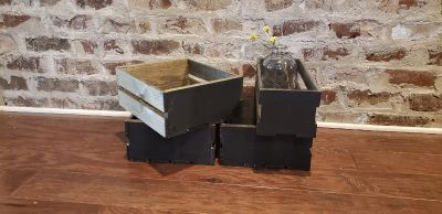 Set of 4 Wood Crates. They have been Stained and Painted on the Front with Black Chalkboard Paint. Great For Parties or Organization.