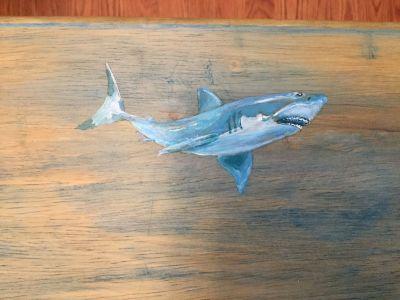 Shark Folding TV Tray. Top of this solid wood tray has been softly washed with color, then hand painted. Pickup near Innsbrook.