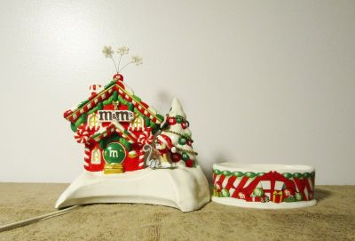 "M&M's Department 56 Ceramic Christmas ""Candy House"" w/ Dish and Light 2004"