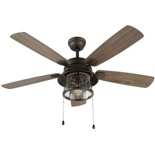 NEW-Shanahan 52 in. LED Indoor/Outdoor Bronze Ceiling Fan with Light