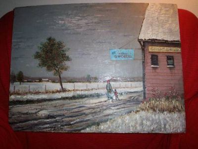 "A real Matthew Lasinski Oil Painting ""COUNTRY STORE"""
