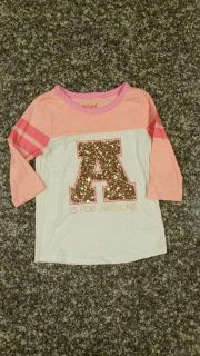 """CAT & JACK, """"A"""" is for Awesome 3/4"""" Sleeve Sequined Shirt. Size S (6/6x). EUC. No Smoke/No Pets/No Holes/No Stains."""