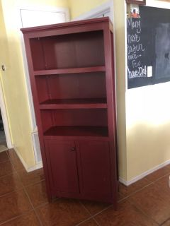 Red book shelf with cabinet