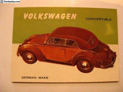 1954 Topps World on Wheels Volkswagen Convertible