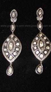 Polki Cut Diamond/Silver Earrings with Black Antiquing