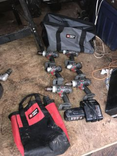 Lot of 6 Working Porter Cable Drills with Bags