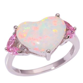 New - White Fire Opal Heart & Pink Topaz Ring - Size 5