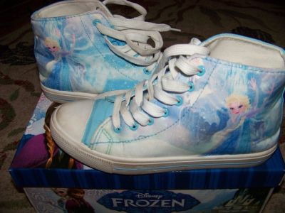 Disney Frozen high top sneaker size 6 light blue