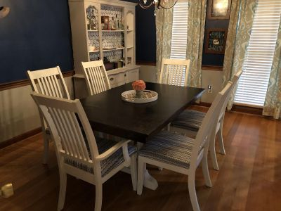 Dining table refinished distressed and sealed with 6 chairs