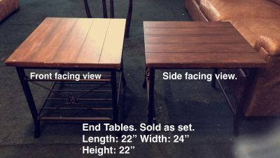 Pair of End iron and wood end tables