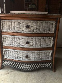 Chest. 3drawer wicker style. EUC. Chalk Painted. Excellent sliding deep drawers. 32 x32 x22. Meet Saraland Publix, ShoeStationHC or TC.