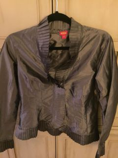 Gray silk button down blouse with ruffle trim size 6