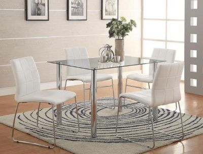 $219.95, Crystal Glass White Dining Set