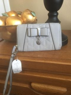 JESSICA SIMPSON GRAY SMALL ZIPPED WALLET PURSE WITH WRIST STRAP