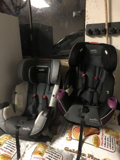 Two Evenflo car seats