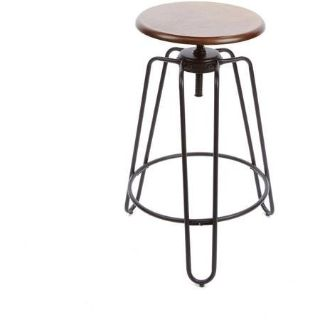 Set of (2) BHG Adjustable Height Spin Stool (Brown/Black) - NEW!