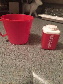 """Vintage 3"""" plastic cup and 2"""" pepper shaker"""