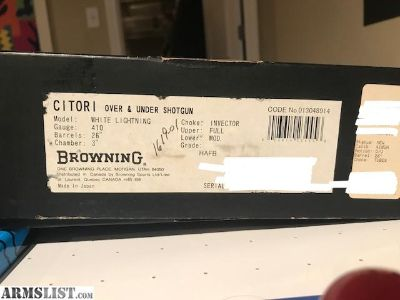 For Sale: Browning Citori White Lightening