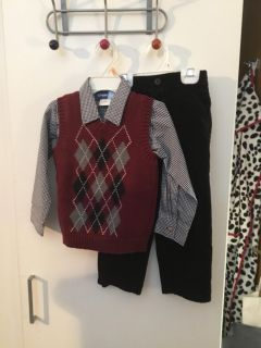 GREAT GUY 3 PIECE OUTFIT- TANK TOP, LONG SLEEVED SHIRT AND BLACK PANTS - SIZE 4T