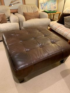 Elegant Dark Brown Leather Ottoman, Pottery Barn