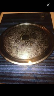 Vintage Round Copper Paisley Serving Plate with a rimmed edge to prevent items from falling off VGC